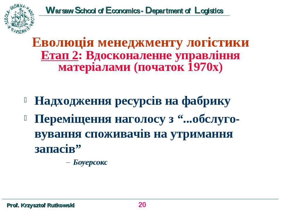 Еволюція менеджменту логістики Етап 2: Вдосконаленне управління матеріалами (...