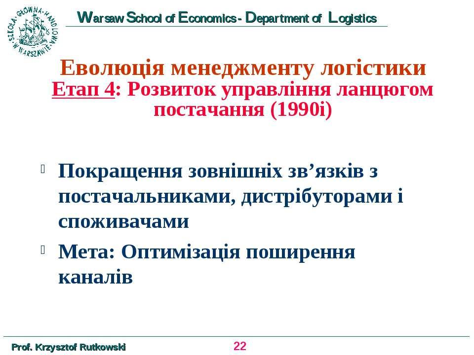Еволюція менеджменту логістики Етап 4: Розвиток управління ланцюгом постачанн...