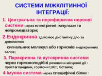 СИСТЕМИ МІЖКЛІТИННОЇ ІНТЕГРАЦІЇ: 1. Центральна та периферична нервові системи...