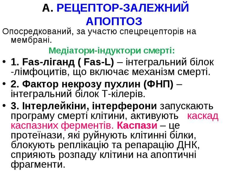 А. РЕЦЕПТОР-ЗАЛЕЖНИЙ АПОПТОЗ Опосредкований, за участю спецрецепторів на мемб...