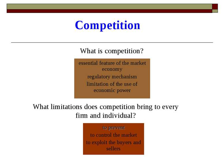 Competition What is competition? What limitations does competition bring to e...