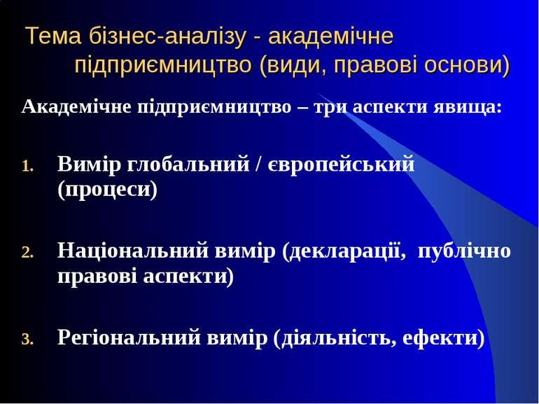 Тема бізнес-аналізу - академічне підприємництво (види, правові основи) Академ...