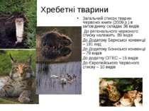 Хребетні тварини Загальний список тварин Червоної книги (2009 р.) в заповідни...