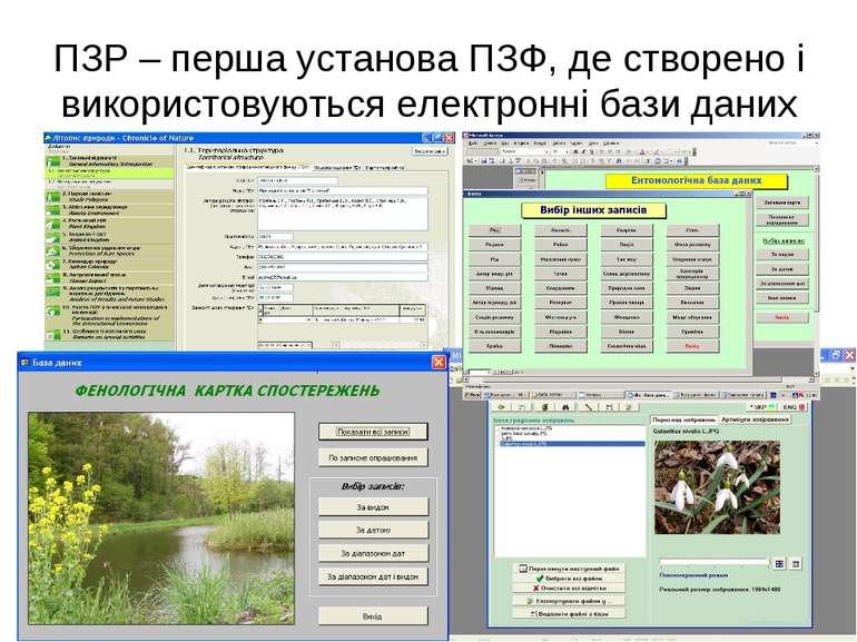 ПЗР – перша установа ПЗФ, де створено і використовуються електронні бази даних