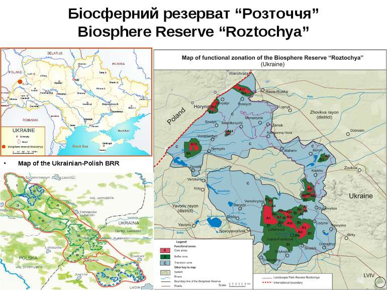 "Біосферний резерват ""Розточчя"" Biosphere Reserve ""Roztochya"" Map of the Ukrai..."