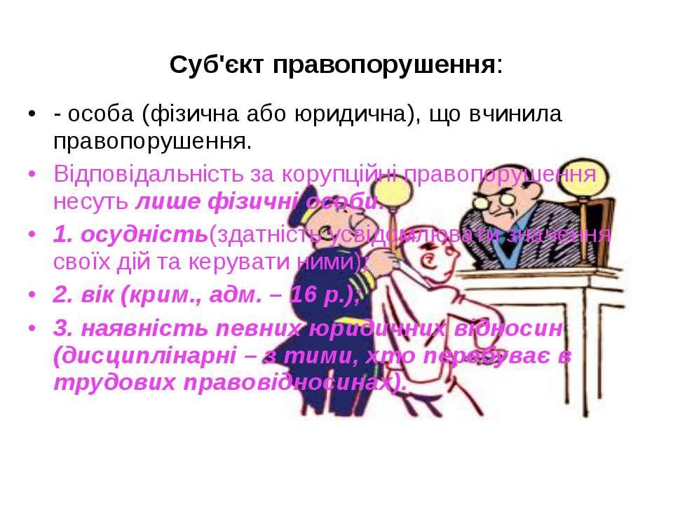 - особа (фізична або юридична), що вчинила правопорушення. Відповідальність з...