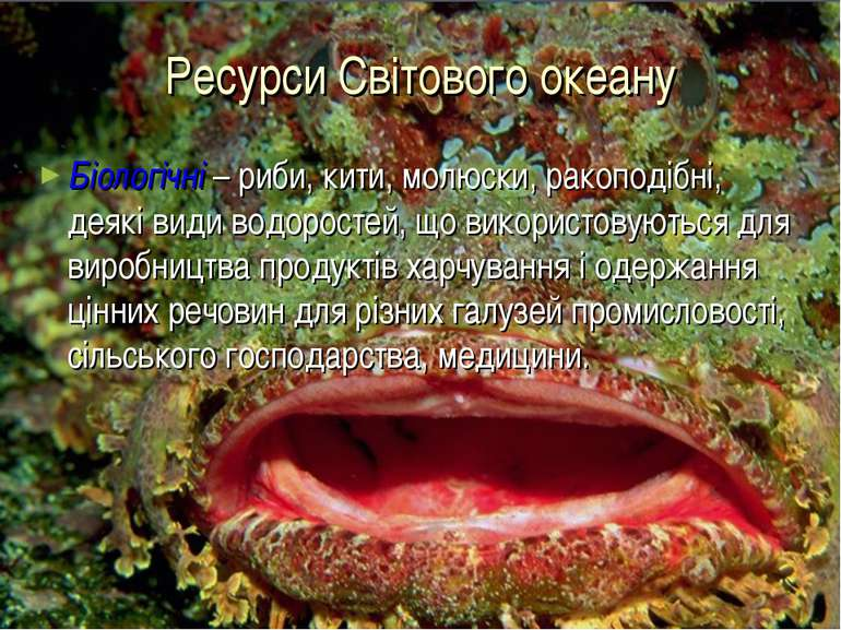 Ресурси Світового океану Біологічні – риби, кити, молюски, ракоподібні, деякі...