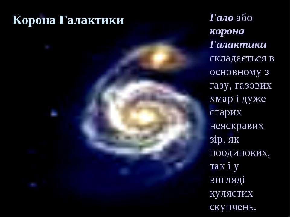 Корона Галактики Гало або корона Галактики складається в основному з газу, га...