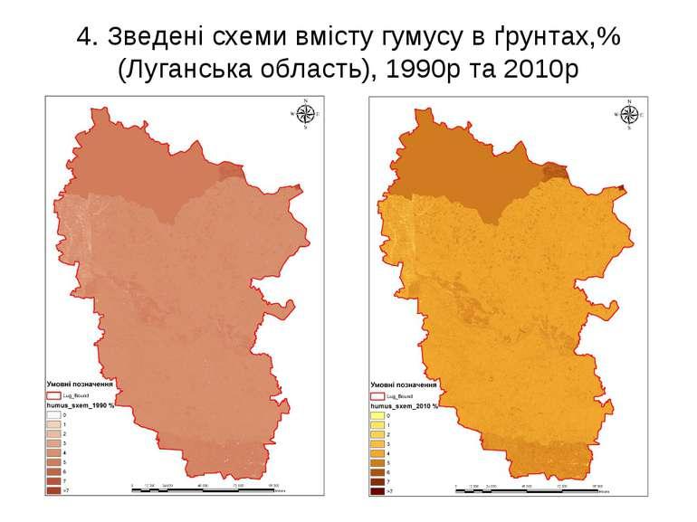 4. Зведені схеми вмісту гумусу в ґрунтах,% (Луганська область), 1990р та 2010р