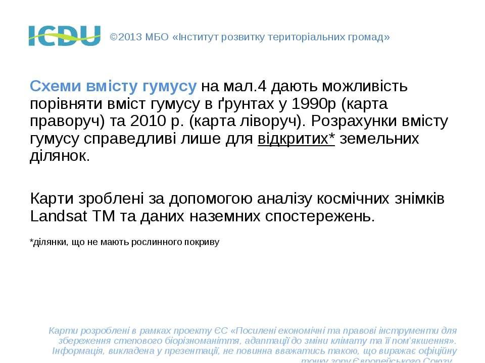 ©2013 МБО «Інститут розвитку територіальних громад» Схеми вмісту гумусу на ма...