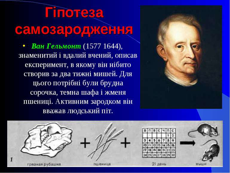Гіпотеза самозародження Ван Гельмонт (1577 1644), знаменитий і вдалий вчений,...