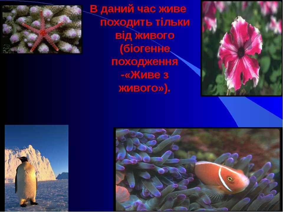 В даний час живе походить тільки від живого (біогенне походження -«Живе з жи...