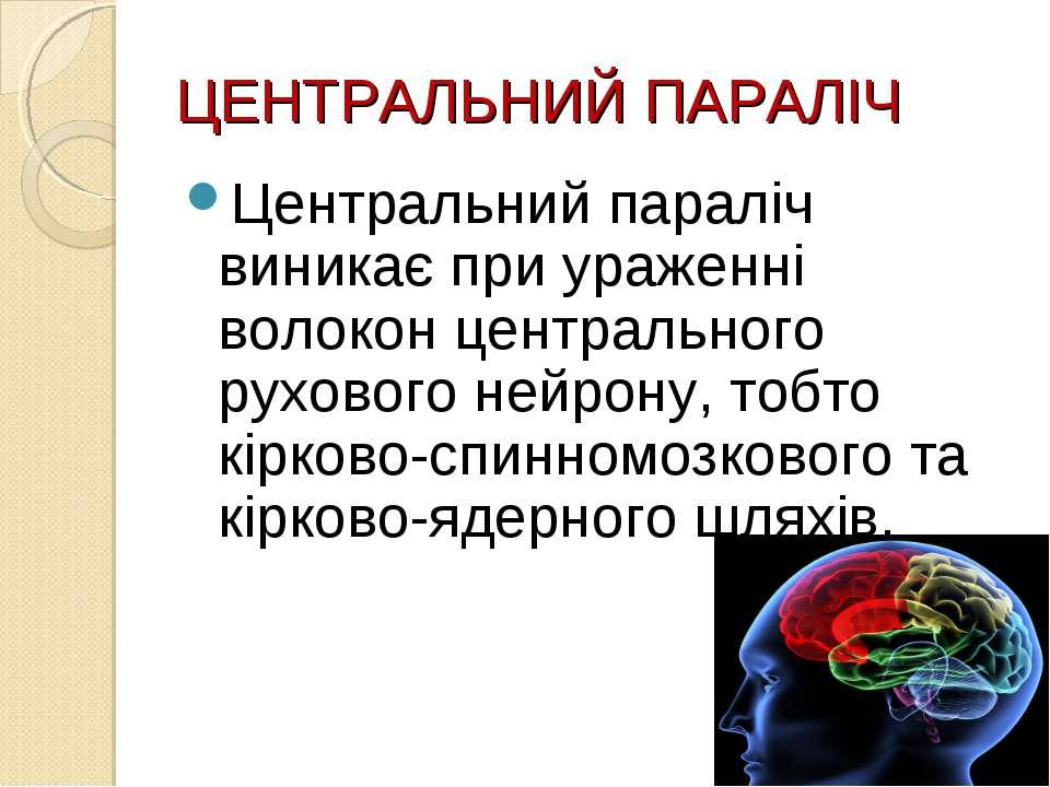 ЦЕНТРАЛЬНИЙ ПАРАЛІЧ Центральний параліч виникає при ураженні волокон централь...