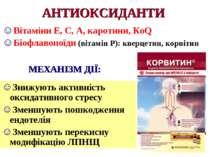 АНТИОКСИДАНТИ Вітаміни Е, С, А, каротини, КоQ Біофлавоноїди (вітамін Р): квер...