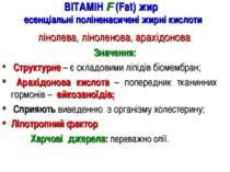 ВІТАМІН F (Fаt) жир есенціальні поліненасичені жирні кислоти лінолева, ліноле...