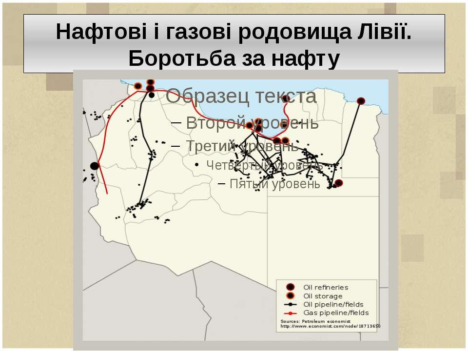 Нафтові і газові родовища Лівії. Боротьба за нафту
