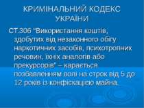 """КРИМІНАЛЬНИЙ КОДЕКС УКРАЇНИ СТ.306 """"Використання коштів, здобутих від незакон..."""