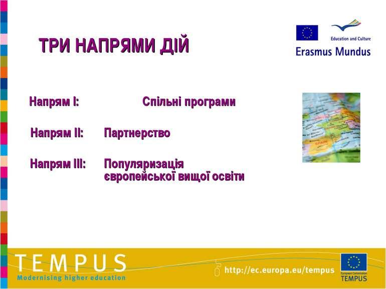 ТРИ НАПРЯМИ ДІЙ Напрям I: Спільні програми Напрям II: Партнерство Напрям III:...