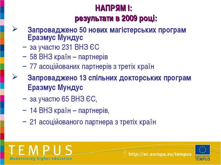 * НАПРЯМ I: результати в 2009 році: Запроваджено 50 нових магістерських прогр...