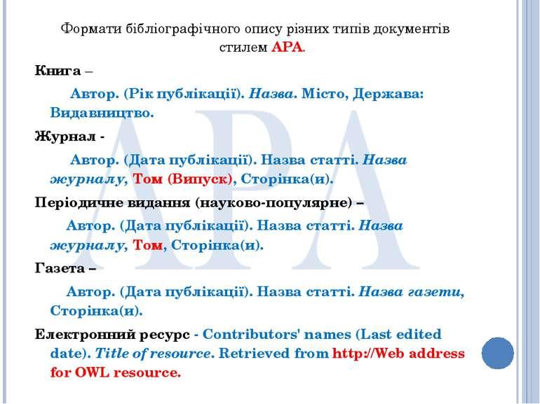 Формати бібліографічного опису різних типів документів стилем APA. Книга – Ав...