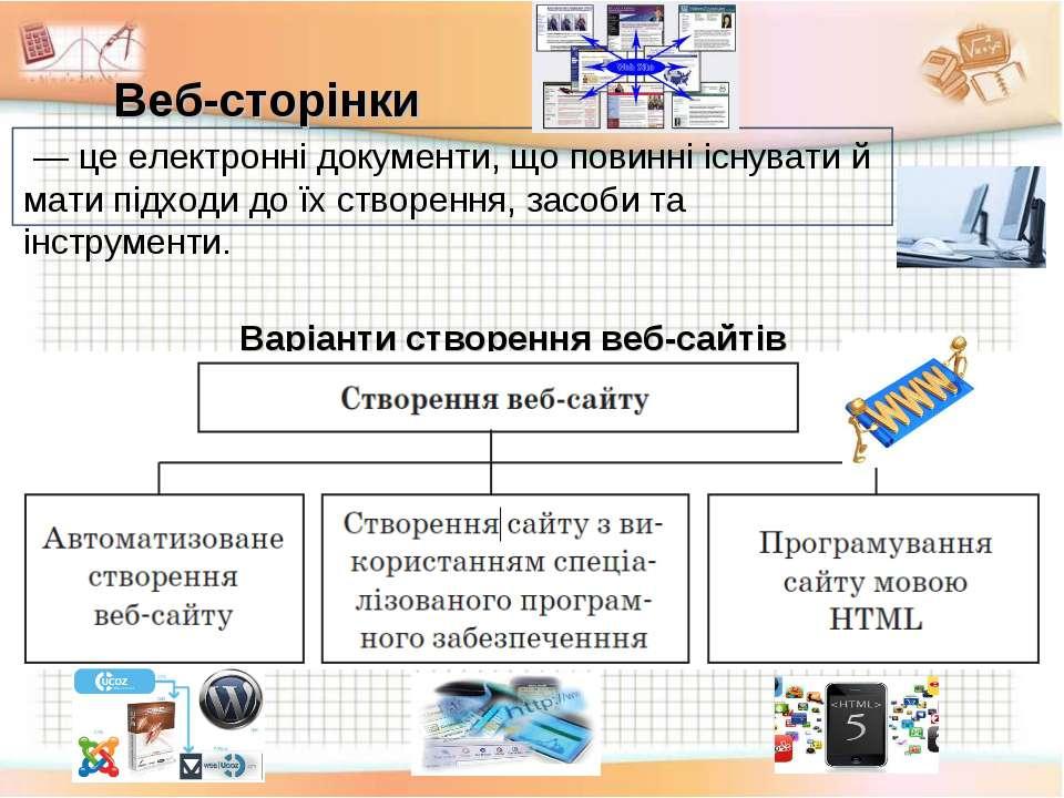 Веб-сторінки Варіанти створення веб-сайтів