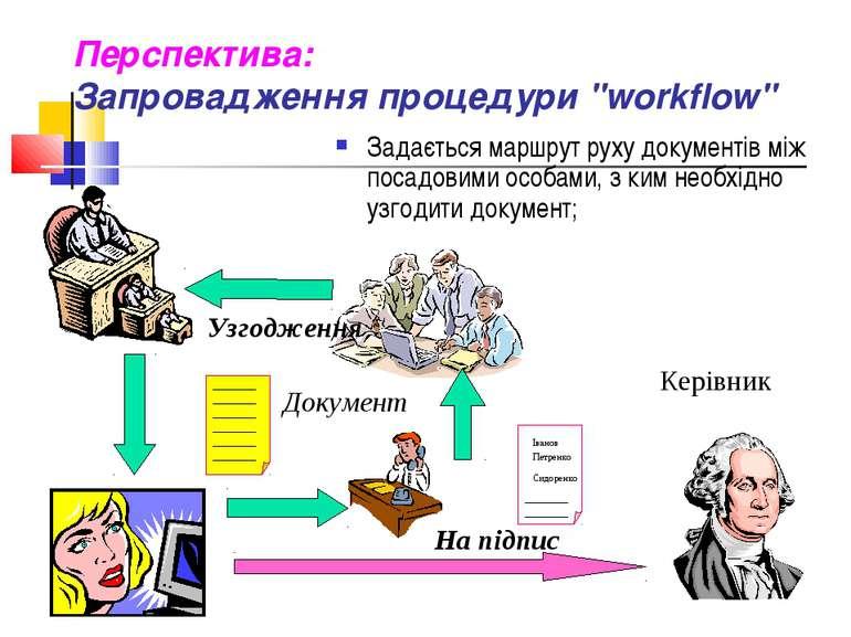 """Перспектива: Запровадження процедури """"workflow"""" Задається маршрут руху докуме..."""