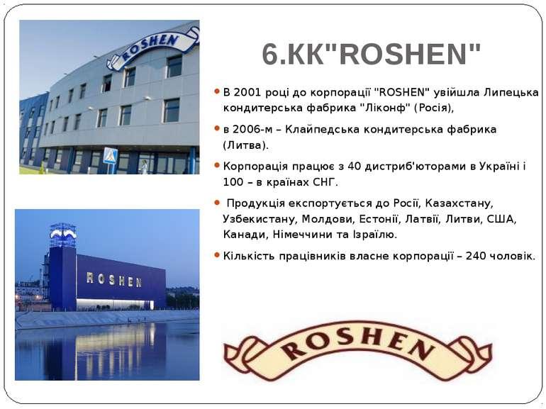 """6.КК""""ROSHEN"""" В 2001 році до корпорації """"ROSHEN"""" увійшла Липецька кондитерська..."""