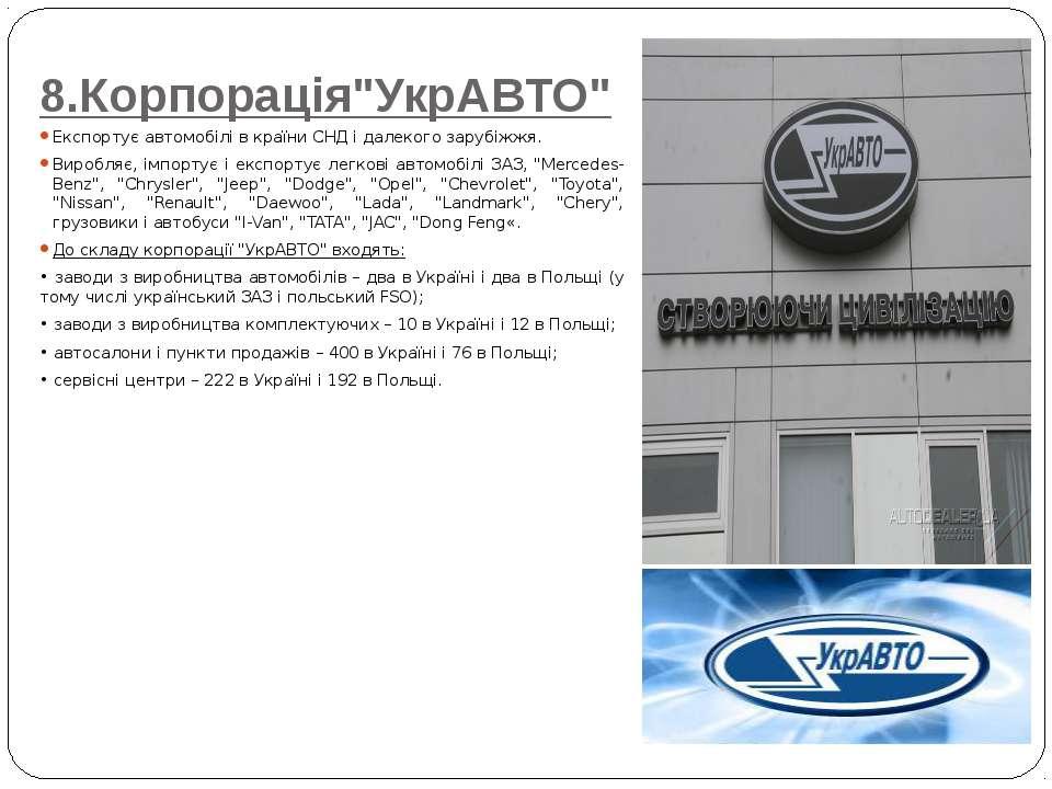 """8.Корпорація""""УкрАВТО"""" Експортує автомобілі в країни СНД і далекого зарубіжжя...."""