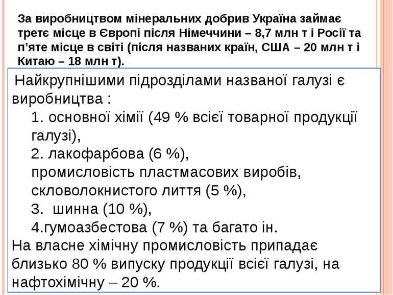 За виробництвом мінеральних добрив Україна займає третє місце в Європі після ...