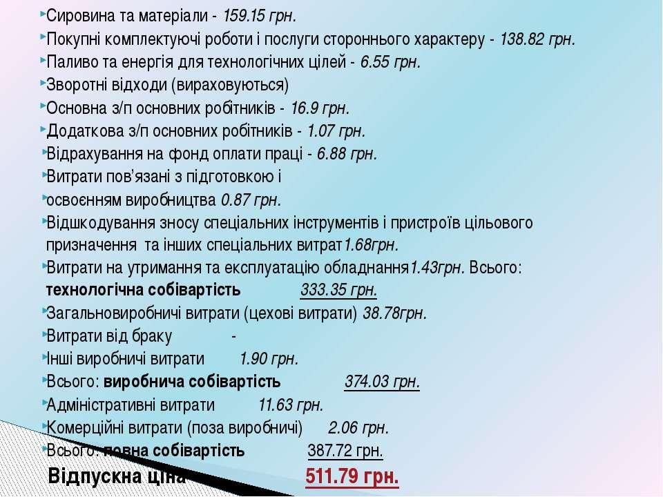 Сировина та матеріали - 159.15 грн. Покупні комплектуючі роботи і послуги сто...