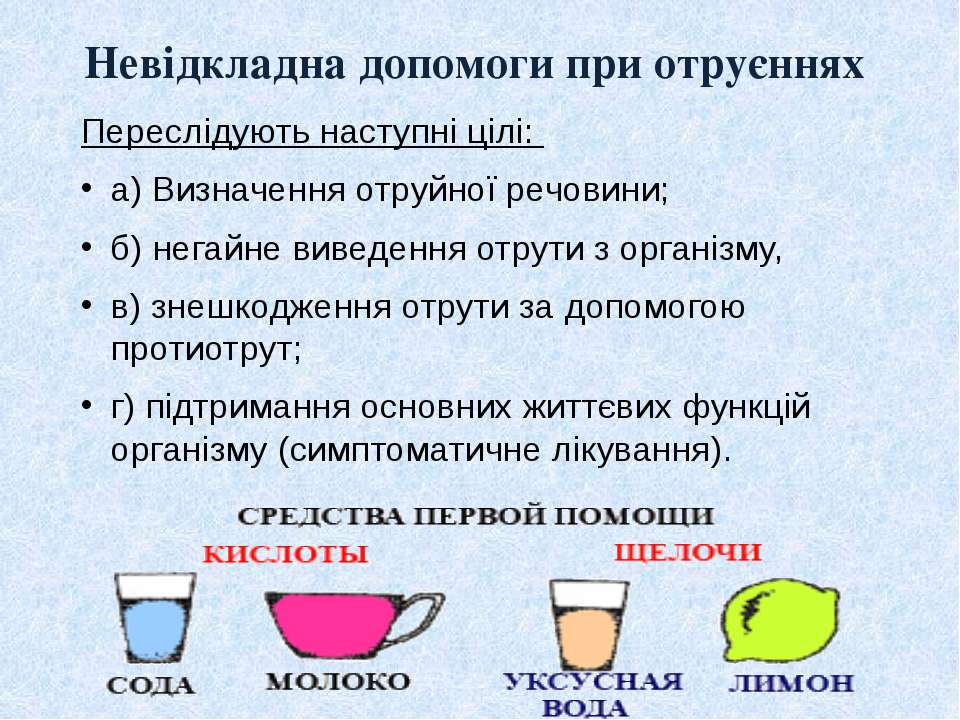Невідкладна допомоги при отруєннях Переслідують наступні цілі: а) Визначення ...
