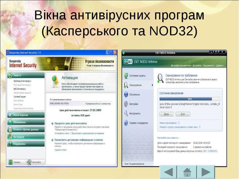 Вікна антивірусних програм (Касперського та NOD32)
