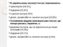 В українському експорті послуг переважають: транспортні (54,3%) подорожі (25,...