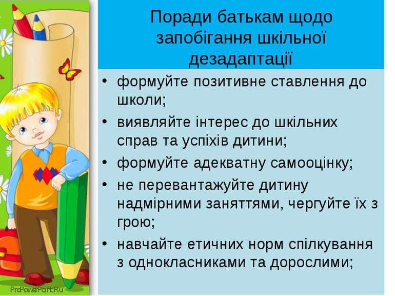Поради батькам щодо запобігання шкільної дезадаптації формуйте позитивне став...