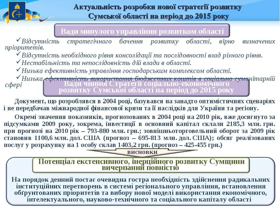 Актуальність розробки нової стратегії розвитку Сумської області на період до ...