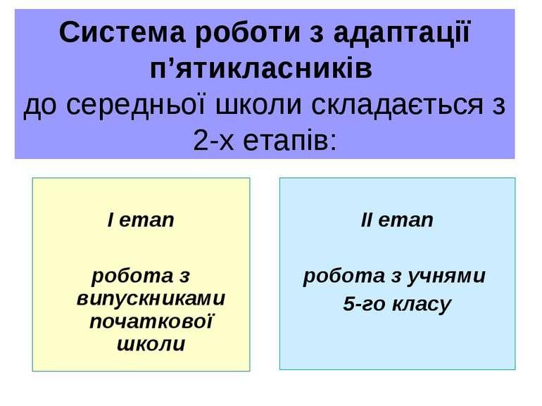 Система роботи з адаптації п'ятикласників до середньої школи складається з 2-...