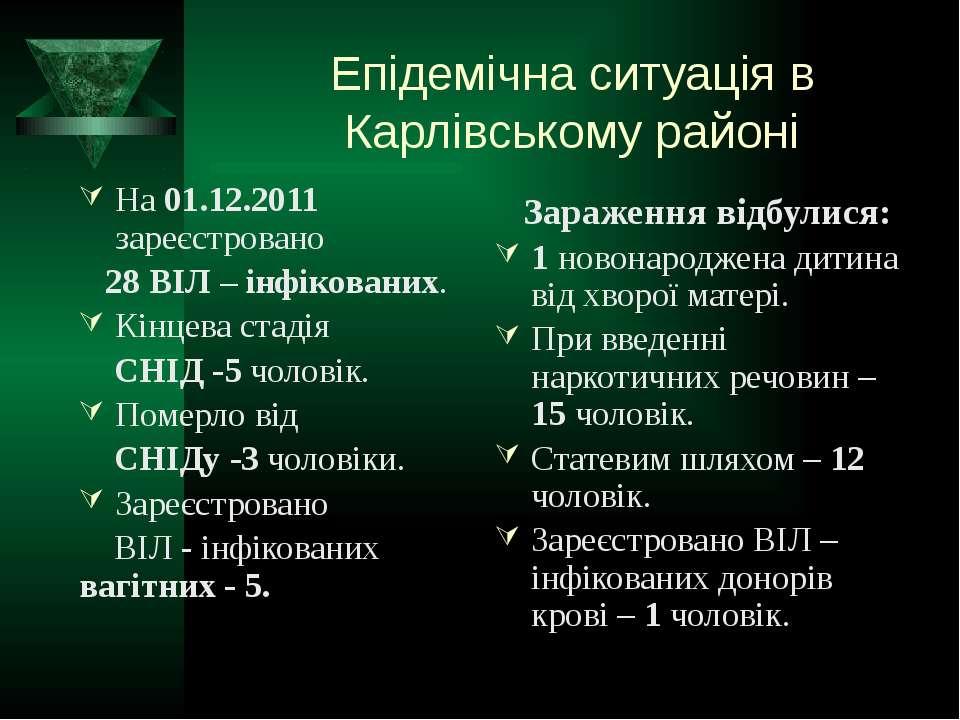 Епідемічна ситуація в Карлівському районі На 01.12.2011 зареєстровано 28 ВІЛ ...