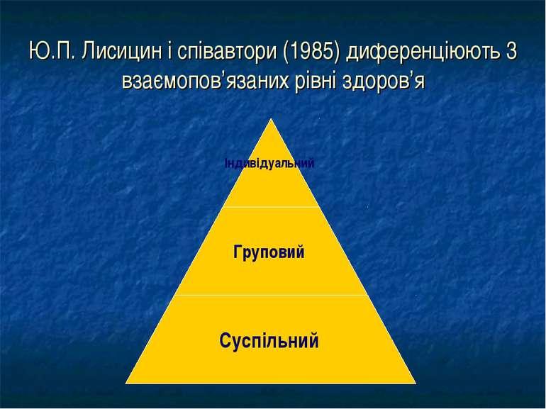 Ю.П. Лисицин і співавтори (1985) диференціюють 3 взаємопов'язаних рівні здоров'я