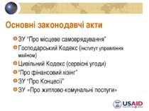 """* Основні законодавчі акти ЗУ """"Про місцеве самоврядування"""" Господарський Коде..."""