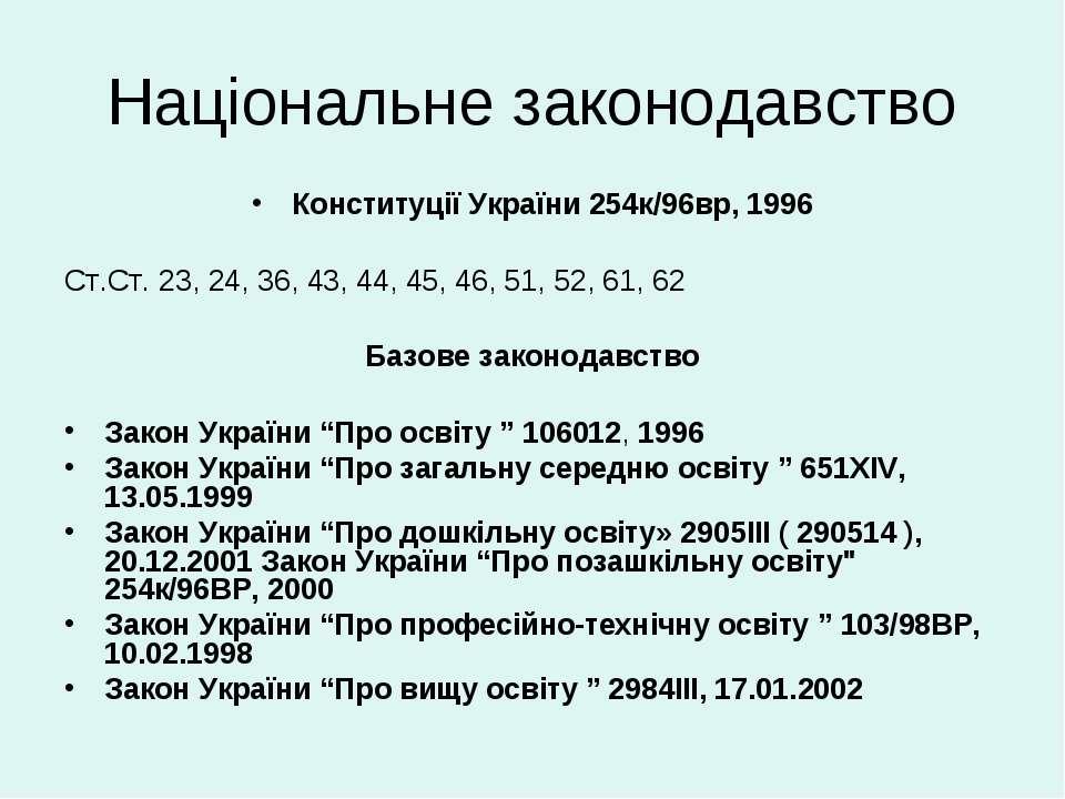 Національне законодавство Конституції України 254к/96вр, 1996 Ст.Ст. 23, 24, ...