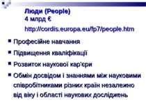 Люди (People) 4 млрд € http://cordis.europa.eu/fp7/people.htm Професійне навч...