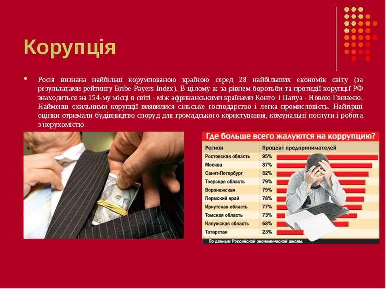 Корупція Росія визнана найбільш корумпованою країною серед 28 найбільших екон...