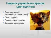 Навички управління стресом (для підлітків) Стрес позитивний і негативний (за ...