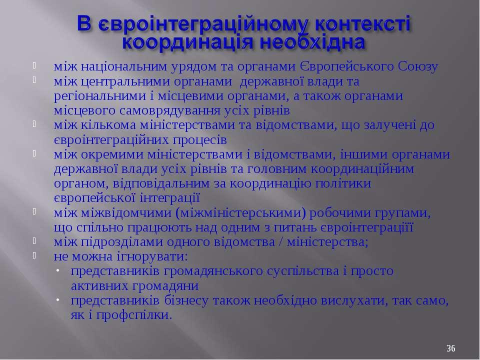 між національним урядом та органами Європейського Союзу між центральними орга...