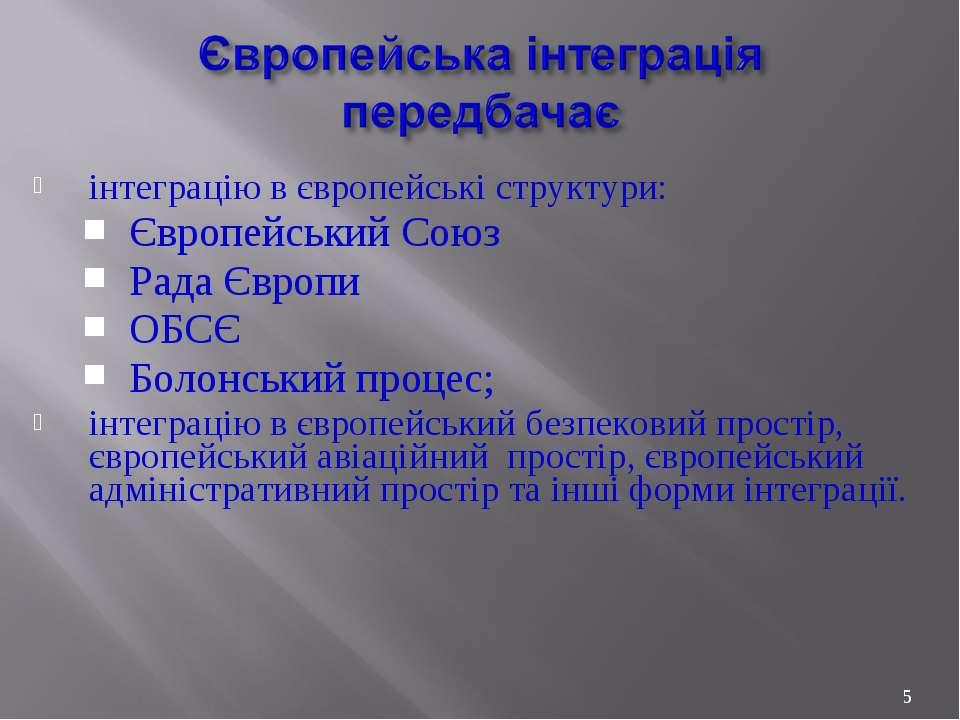 інтеграцію в європейські структури: Європейський Союз Рада Європи ОБСЄ Болонс...