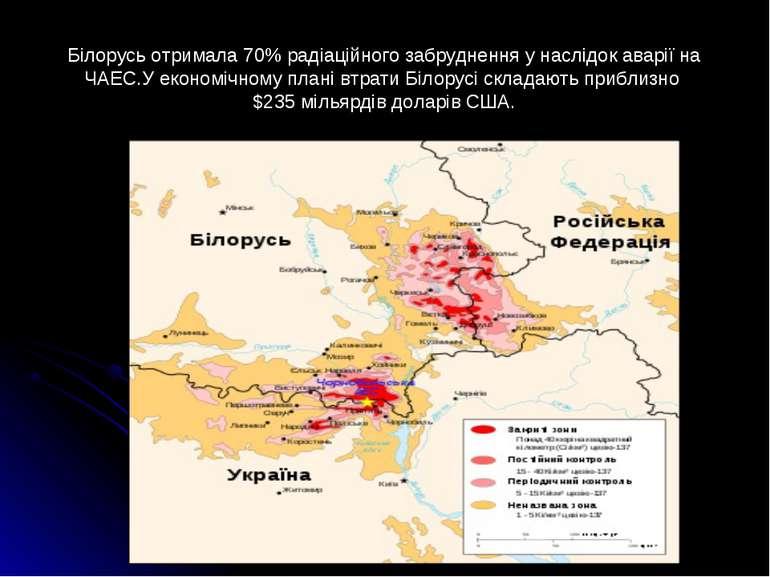 Білорусь отримала 70% радіаційного забруднення у наслідок аварії на ЧАЕС.У ек...