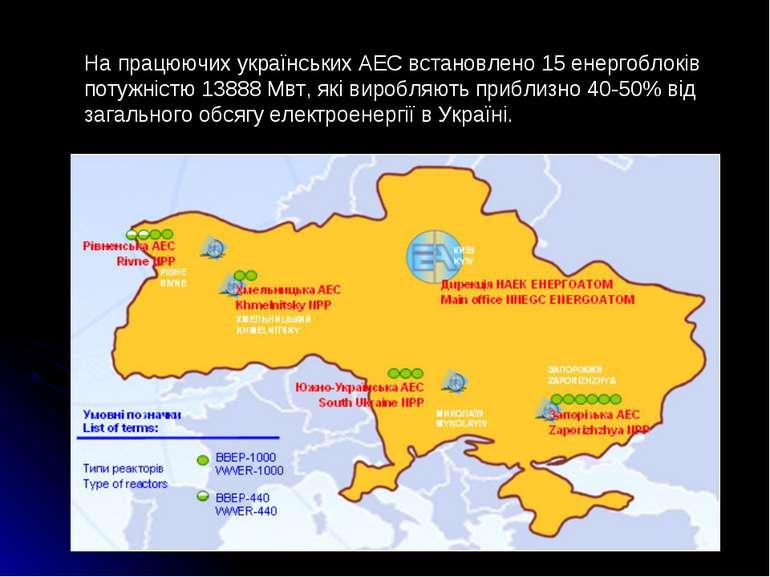 На працюючих українських АЕС встановлено 15 енергоблоків потужністю 13888 Мвт...