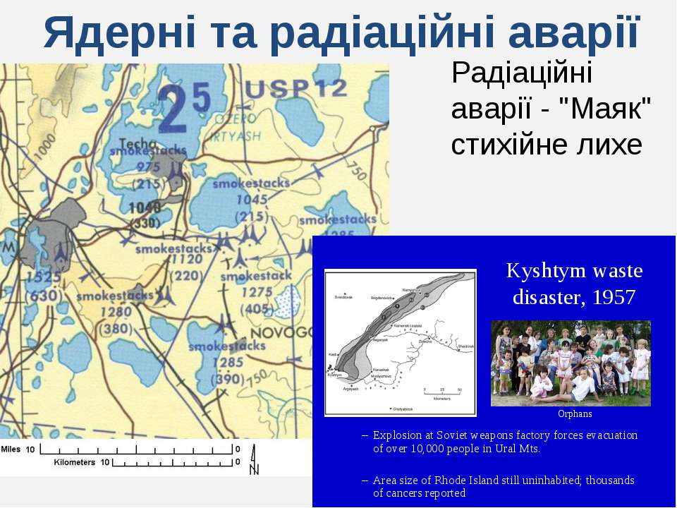 """Ядерні та радіаційні аварії Радіаційні аварії - """"Маяк"""" стихійне лихе"""