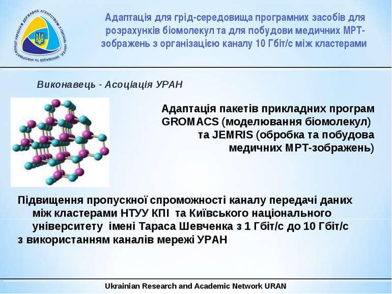 Виконавець - Асоціація УРАН Адаптація пакетів прикладних програм GROMACS (мод...