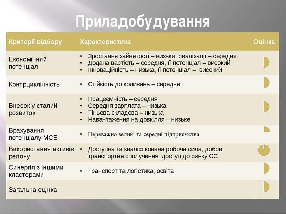 Приладобудування Критерії відбору Характеристика Оцінка Економічний потенціал...